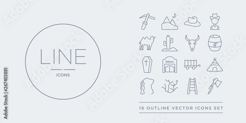 16 line vector icons set such as tomahawk, train rails, tumbleweed, whip, wigwam contains wild west cart, wild west saloon, wooden coffin, barrel Canvas
