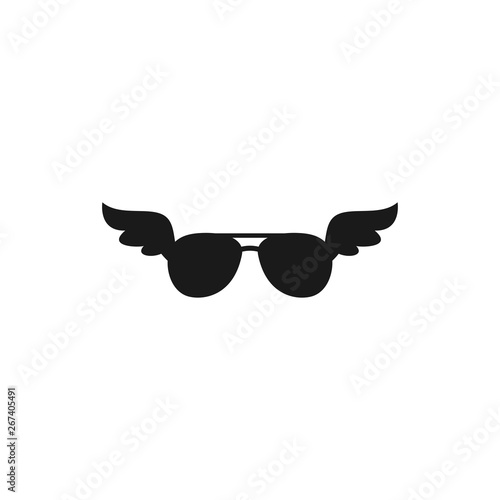 Fényképezés  Black flat pilot sun glasses with wings icon