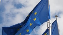 Two European Union Flags With ...