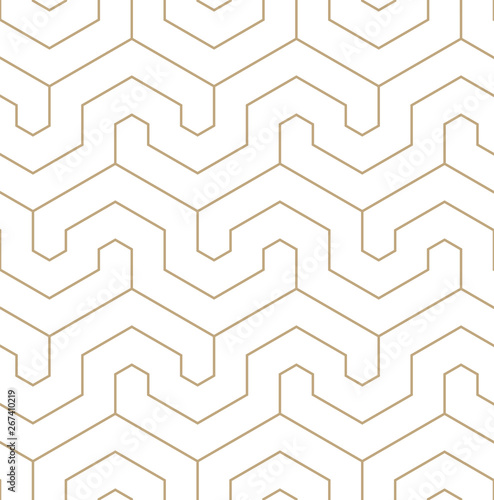 Vector geometric gold pattern. Seamless modern linear pattern. Canvas Print