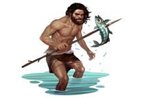 Illustration Of Caveman Catchi...
