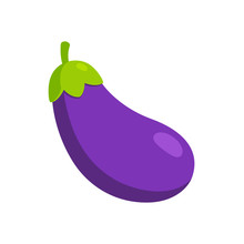 Cartoon Eggplant Emoji Icon