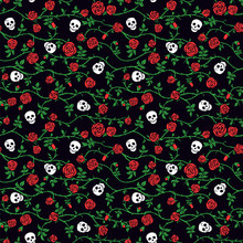 Skull Floral Seamless Pattern ...