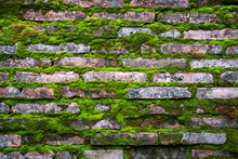 Pattern Of  Bricks With Old Gr...