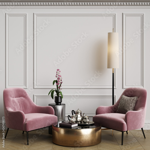 Tela Cassic interior with pink armchair and floor lamp