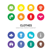 16 Clothes Vector Icons Set In...