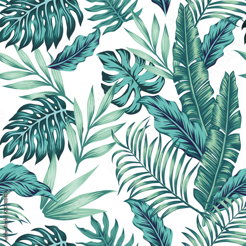 Obraz Seamless pattern tropical composition white background - fototapety do salonu