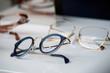 Leinwandbild Motiv closeup of eyeglasses collection in store showroom