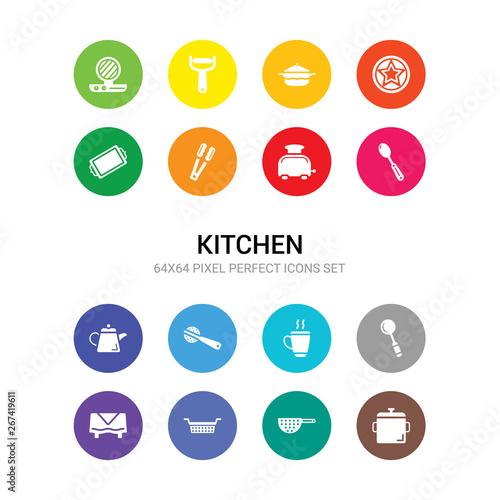 Obraz na plátne 16 kitchen vector icons set included stew pot, strainer, sugar sifter, tableclot