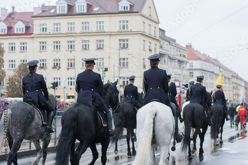 Cuadros en Lienzo Mounted Police of Czech Republic on military parade