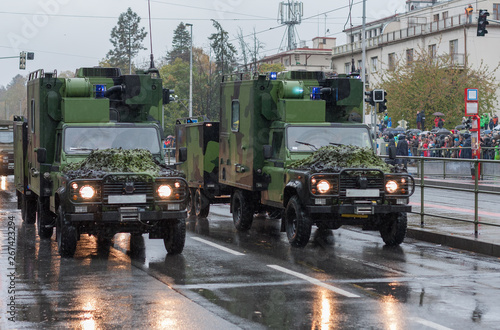 Photo  Armour off road vehicle on  military parade  in Prague, Czech Republic