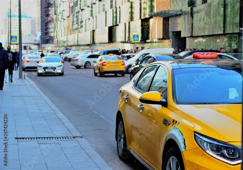 Foto op Canvas New York TAXI February 2019. Moscow. Russia. modern street with cars and taxis