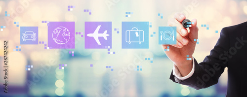 Airplane travel theme with businessman on blurred abstract background