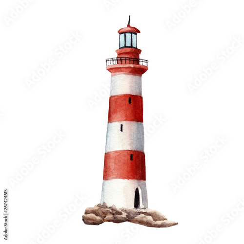 Obraz hand drawn watercolor lighthouse isolated on white background - fototapety do salonu