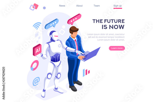 Obraz Human interactive tech interaction. Images of robot human working at office, can use for web banner, infographics, hero images. Flat isometric vector illustration isolated on white background - fototapety do salonu