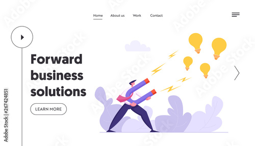 Businessman Character Attracting Creative Idea Landing Page Wallpaper Mural