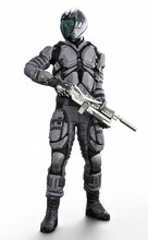 Full Length Vertical Illustration Of A Masked Futuristic Armored Soldier On An Isolated White Background. 3d Rendering