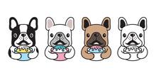 Dog Vector French Bulldog Icon Cartoon Character Puppy Ice Cream Logo Illustration Doodle