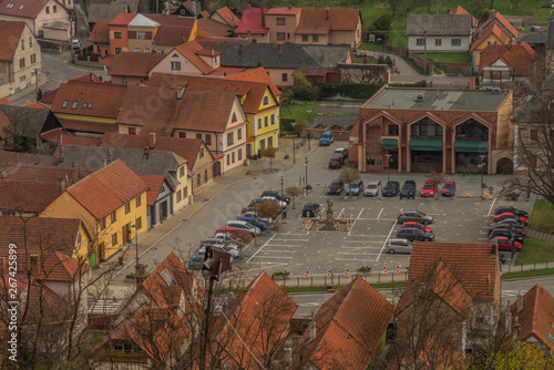 Ingelijste posters Halloween View from Brumov castle in spring cloudy day in Moravia