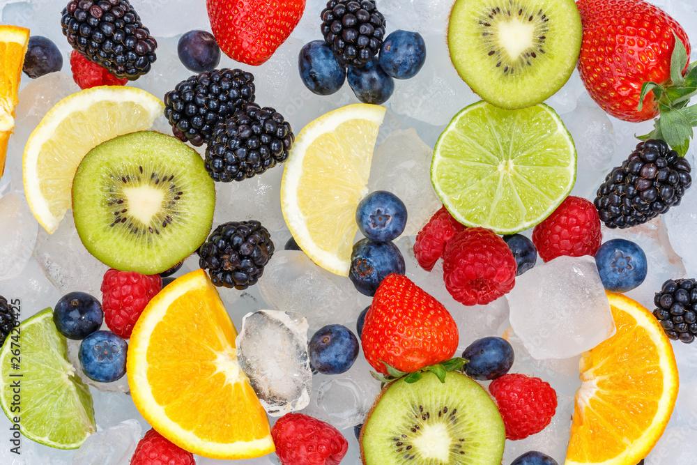 Fototapety, obrazy: Fruits berry food background oranges strawberries ice cubes fresh fruit