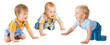 canvas print picture Crawling Babies Boys, Infant Kids Group Crawl on all fours, Toddlers Children Isolated over White Background, One year old