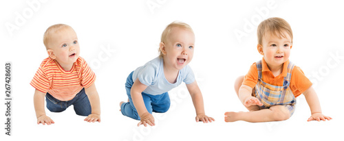 Fotografia Babies Boys, Crawling and Sitting Infant Kids Group, Toddlers Children Isolated