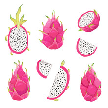 Set Of Dragon Fruits And Pitay...