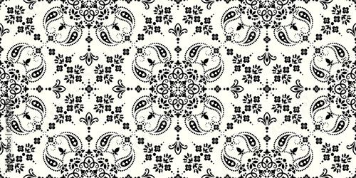 Seamless pattern based on ornament paisley Bandana Print Wallpaper Mural