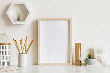 Modern And Stylish Home Interior With Wooden Mock Up Poster Frame, Design Office Accessories, Tapes, Supplies, Notes, Memo Sticks, Air Plants. Scandinavian Home Decor. Minimalistic Concept. Template.