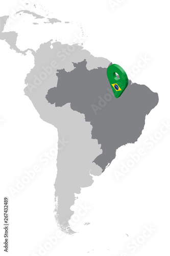 Map Of America 3d Vector.Brazil Location Map On Map South America 3d Brazil Flag Map Marker