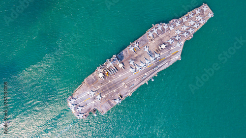 Top View Aircraft Carrier warship battleship In the ocean Wallpaper Mural