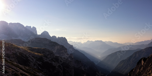 Spoed Foto op Canvas Grijze traf. Looking South-East from the Three Peaks, Dolomite Alps, South Tyrol, Italy, xxl+more: bartussek.xmstore