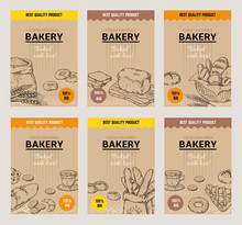Bakery Hand Drawn Posters. Vintage Bread Menu Design Template, Sweet Cookies And Pies Doodle Sketch. Vector Organic Wheat Flour Tasty Bakery Traditional Packaging