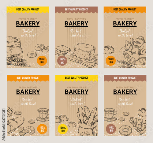 Bakery hand drawn posters Canvas Print