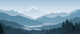 Realistic mountains landscape. Morning wood panorama, pine trees and mountains silhouettes. Vector forest hiking background
