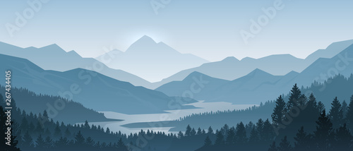 Obraz Realistic mountains landscape. Morning wood panorama, pine trees and mountains silhouettes. Vector forest hiking background - fototapety do salonu