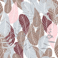 FototapetaLeaves and flowers background. Vector seamless pattern with hand drawn realistic wild flowers, plants and leaves in light pastel colors