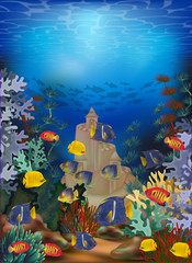 Fototapeta na wymiar Underwater wallpaper with tropical fish and sand castle, vector illustration