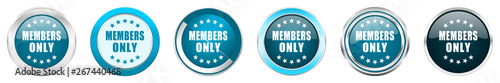 Fotografía  Members only silver metallic chrome border icons in 6 options, set of web blue r