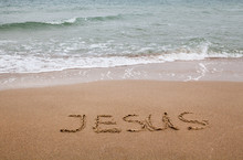 Word Jesus Written On The Sand