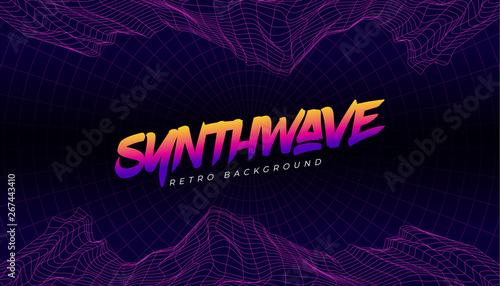 3D Background landscape 80s Style  Synthwave, retrowave