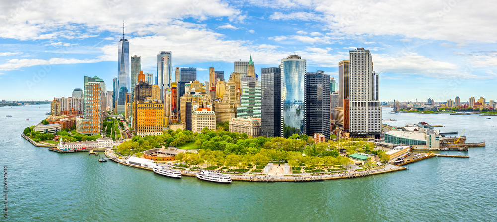 Fototapety, obrazy: Aerial panorama of Downtown New York skyline viewed from above Upper Bay