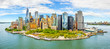 Aerial panorama of Downtown New York skyline viewed from above Upper Bay