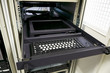 Rack mounted management console of enterprise server. Server management console with tft screen in datacenter.