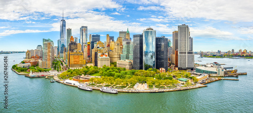 Poster Pool Aerial panorama of Downtown New York skyline viewed from above Upper Bay