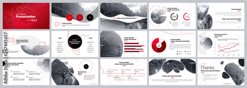 Fototapeta Presentation template. Red Elements for slide presentations on a white background. Use also as a flyer, brochure, corporate report, marketing, advertising, annual report, banner. Vector obraz
