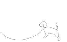 Beagle Dog Silhouette Line Drawing Vector Illustration