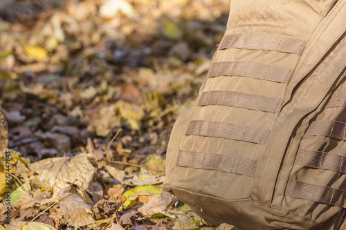 Fotografía Close up detail of the exterior webbing on a tactical backpack that allows for customization via pouch attachment systems