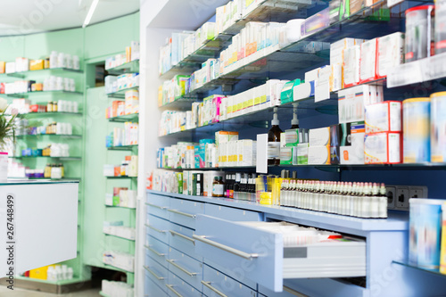 Keuken foto achterwand Apotheek Image of medicines that lie in the cupboards on the shelves