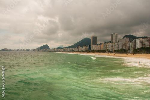 Rio de Janeiro, Copacabana beach, Brazil: Beautiful landscape with sea and beach views Wallpaper Mural